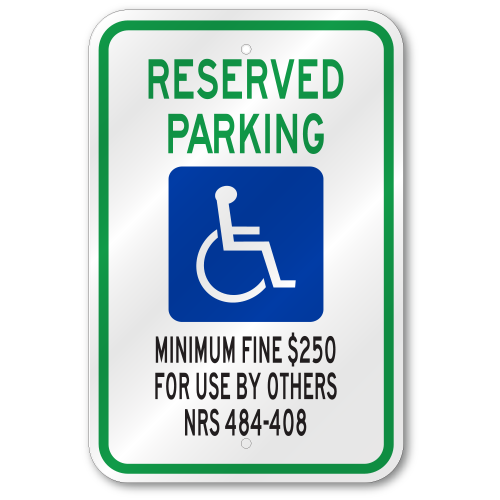 Nevada Handicap Sign