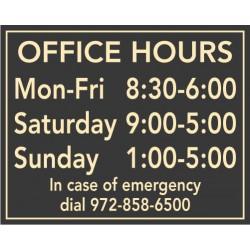 Horizontal Hours Plaque