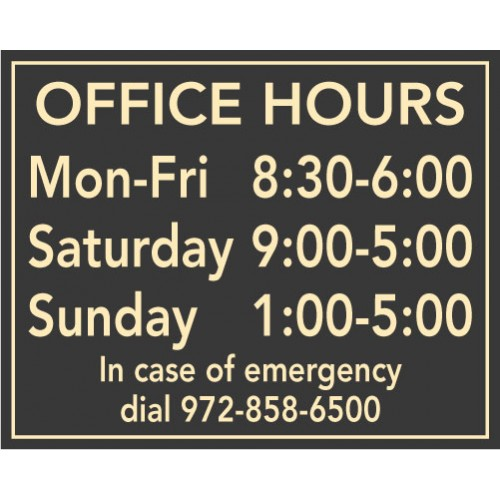 Horizontal Hours Plaque