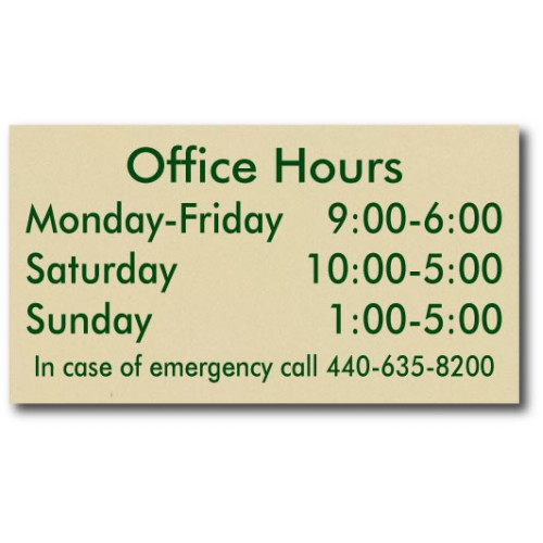 Designer Office Hour Replacement Plaque