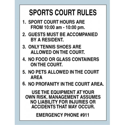 Sport Court Rules Sign