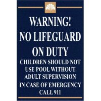 Custom No Lifeguard Sign