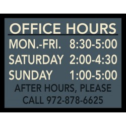 Framed Office Hours Sign