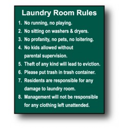 Large Laundry Rules Sign