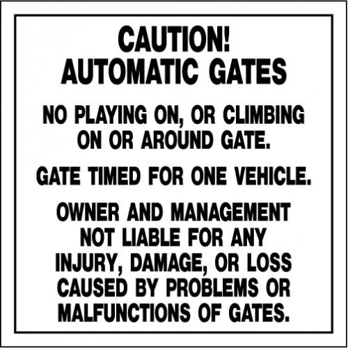 Access Gate Rules Sign