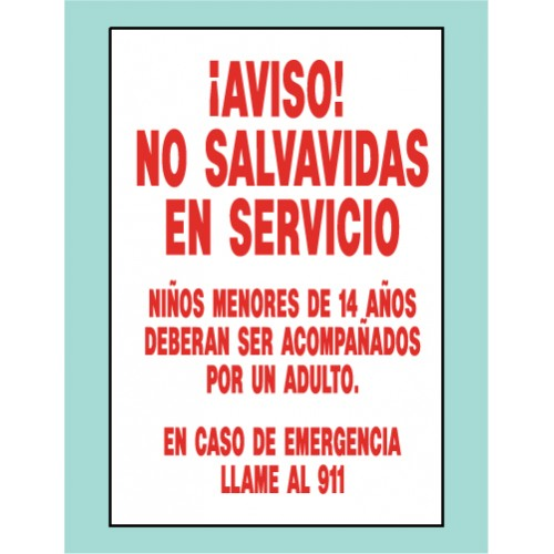 Spanish No Lifeguard Sign