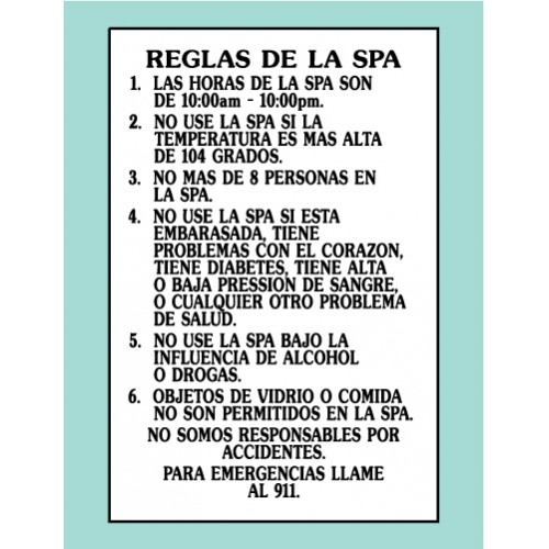 Spanish Spa Rules Sign