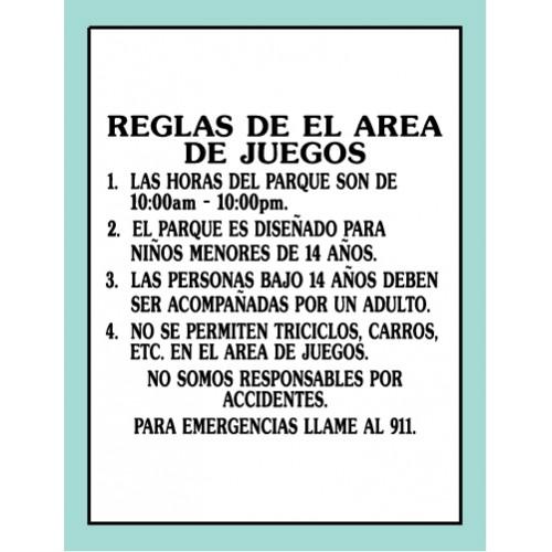 Spanish Playground Rules Sign