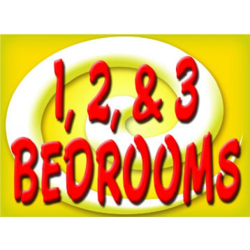 Bright and Bold 1,2,3 Bedroom Sign