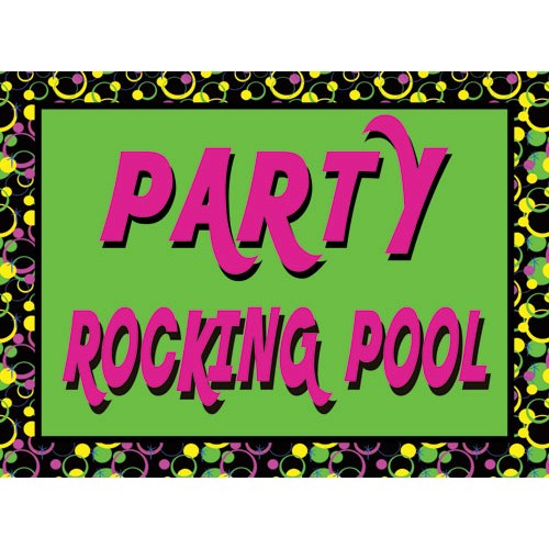 Invite Rockin Pool Sign