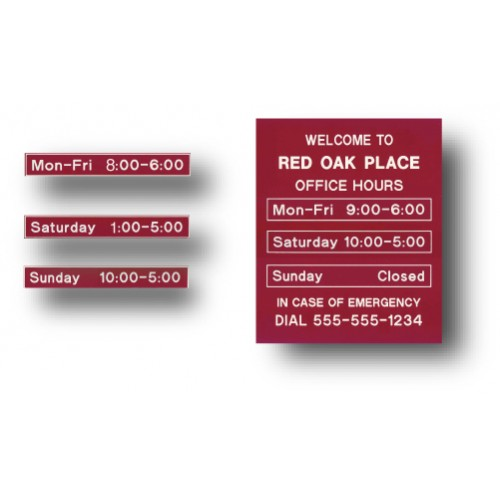 Changeable Office Hours Sign
